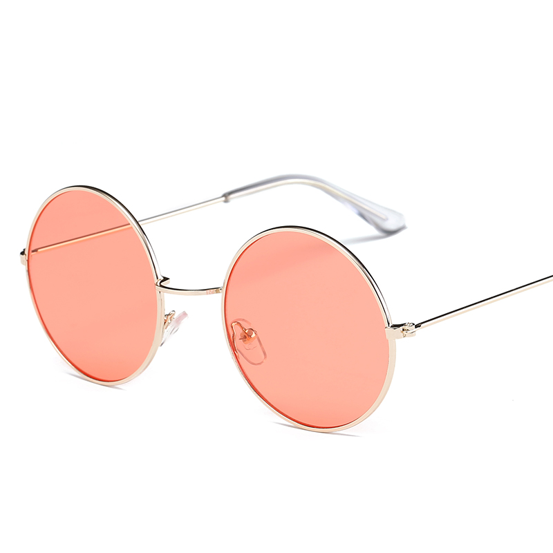 Classic Metal Round Red Sunglasses Women Multicolor Eyeglasses Designer Brand Trend Trend Adult Glasses