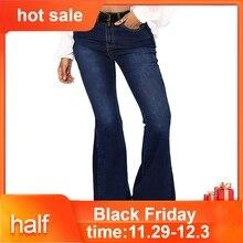Новые модные женские эластичные джинсы размера плюс, свободные джинсы с карманами и пуговицами, повседневные расклешенные штаны, джинсовые штаны