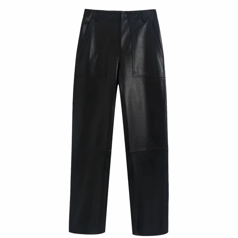 2020 Women Vintage Pockets Patch PU Leather Pants Chic Black Straight Long Trousers Ladies Zipper Fly Business Mujer Pants P596