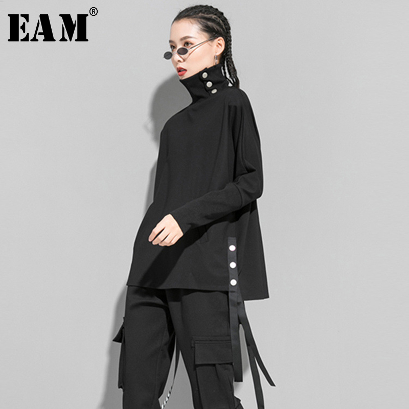 [EAM] Women Black Ribbon Button Split Big Size T-shirt New Turtleneck Long Sleeve  Fashion Tide  Spring Autumn 2020 1R423
