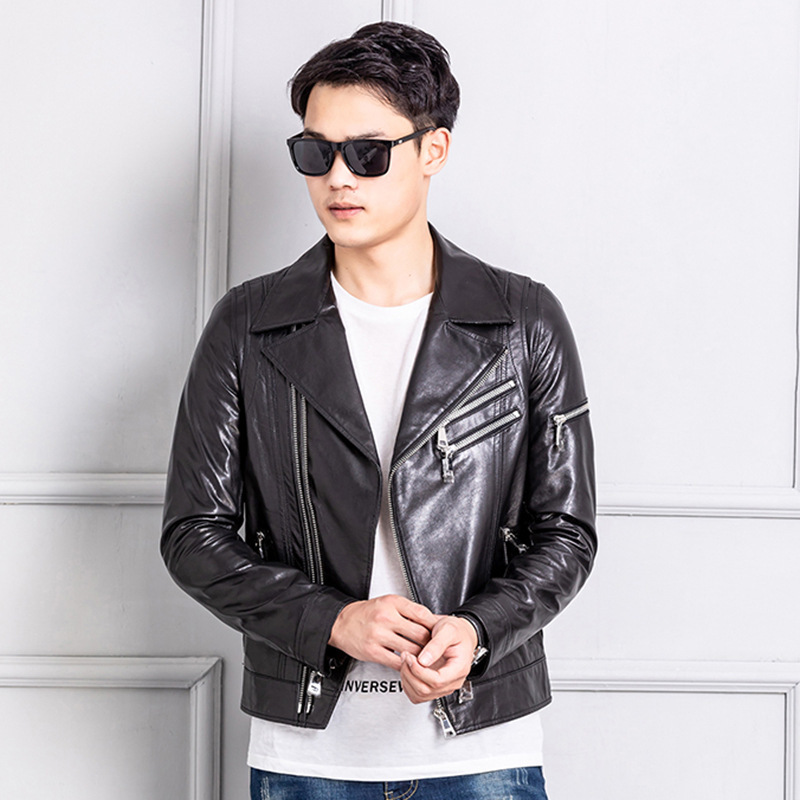 2020 New Streetwear 100% Real Sheepskin Coat Men Spring Autumn Moto Biker Genuine Leather Jacket Man Fit Leather Coat 021