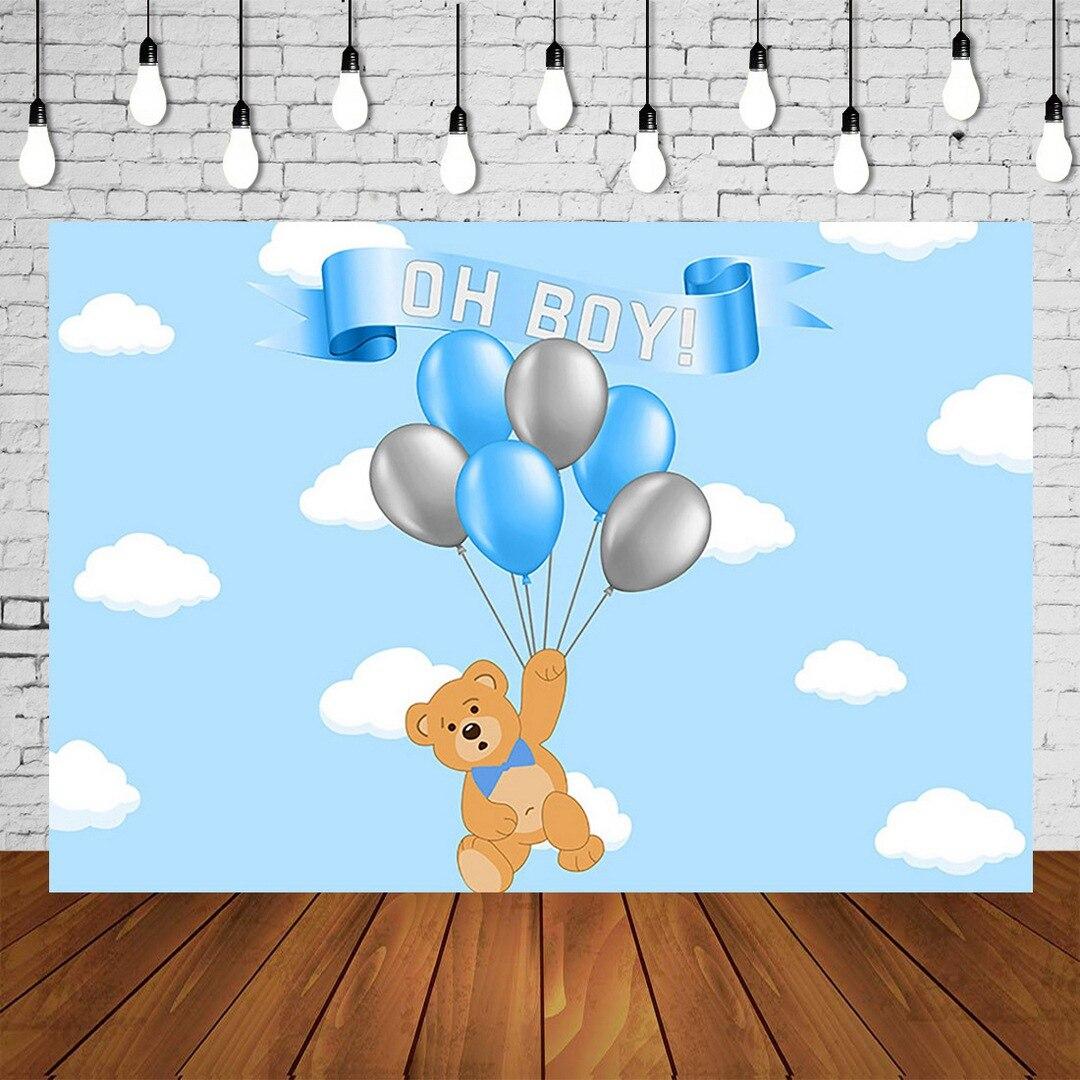 Bear Boy Baby Shower Backdrop Balloons Cartoon Bear Babyshower Background Newborn Birthday Poster Sky Cloud Photo Booth Banner Background Aliexpress