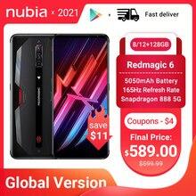 Global Version Nubia Red Magic 6 5G Gaming Smartphones Snapdragon 888 Redmagic Mobile Phone 5050mAh Google Play 30W Super Charge