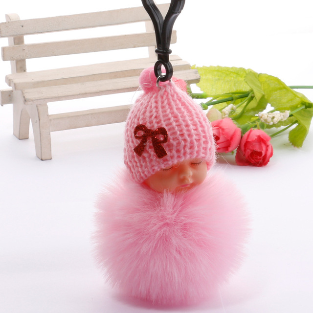 Cute Sleeping Baby Plush Doll Kids Baby Toy Xmas Gift Fur Ball Key Chain Pendant Girl Bag Ornaments Easter Decor Birthday Favors 1