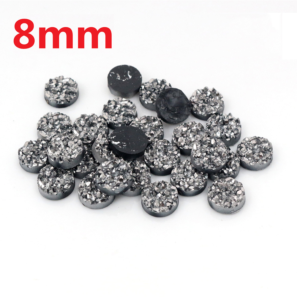 New Fashion 40pcs 8mm Gun Black Colors Natural Ore Style Flat Back Resin Cabochons For Bracelet Earrings Accessories-V3-24