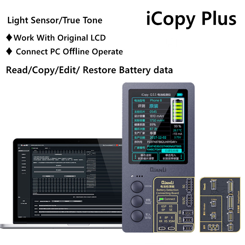 ICopy Plus For 7 8 X XS MAX XR Touch Vibrate True Tone Light Sensor Battery Date Read/Write/Edit Recovery Programmer Repair Tool