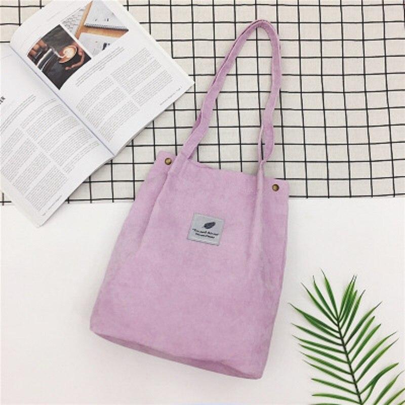 LOOZYKIT, Женские однотонные вельветовые сумки на плечо, сумка для покупок, большая посылка, сумки через плечо, кошельки, Повседневная сумка для женщин, сумка для книг - Цвет: purple
