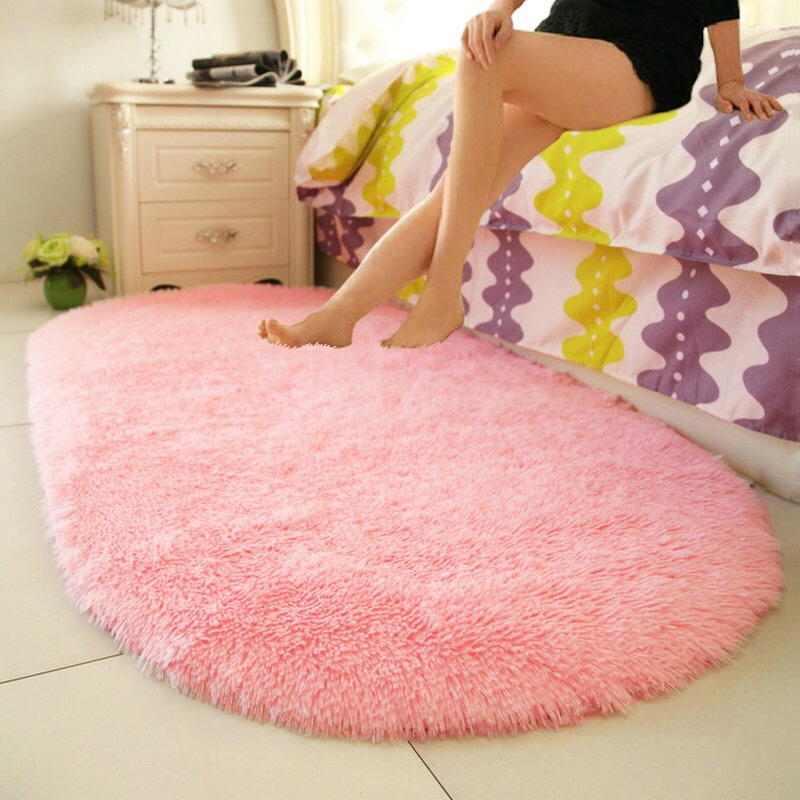 Thick Plush Rugs Lovely Pink Oval Carpets Living Room Bedroom Door Floor Mat Soft Warm Anti-slip Polyester Home Area Rug