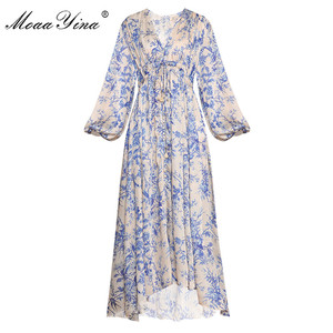 Image 1 - MoaaYina Fashion Designer Runway dress Spring Autumn Womens Dress V neck Lantern sleeve Elastic waist Loose Print Dresses