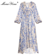 MoaaYina מסלול מעצב אופנה שמלת אביב סתיו נשים של שמלת צווארון V פנס שרוול אלסטי מותן Loose הדפסת שמלות
