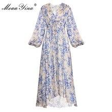 Moaayina 패션 디자이너 런웨이 드레스 봄 가을 여성 드레스 v 넥 랜턴 슬리브 신축성 허리 루스 프린트 드레스
