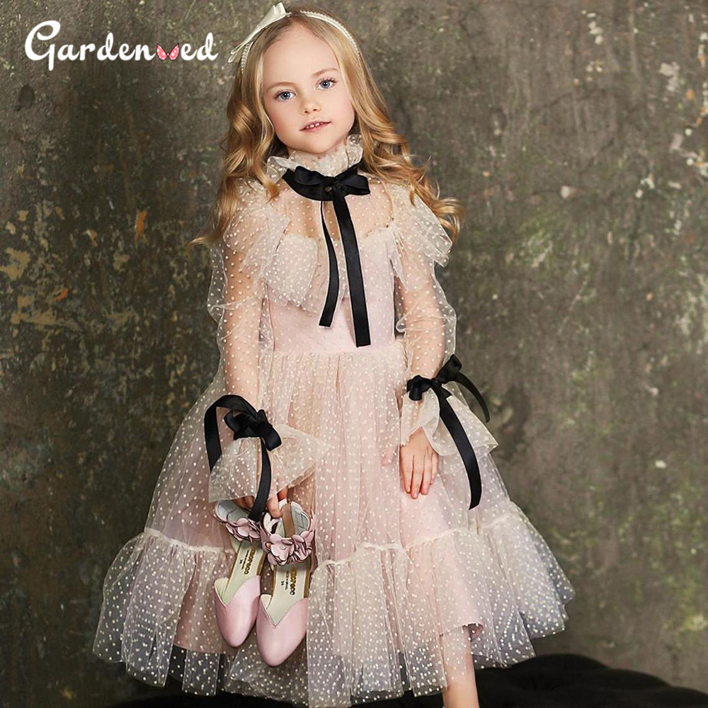 Polka-dot Tulle Flower Girl Dresses Illusion Long Sleeves Girl Wedding Party Dress Ribbons Communion Dress Birthday New Year