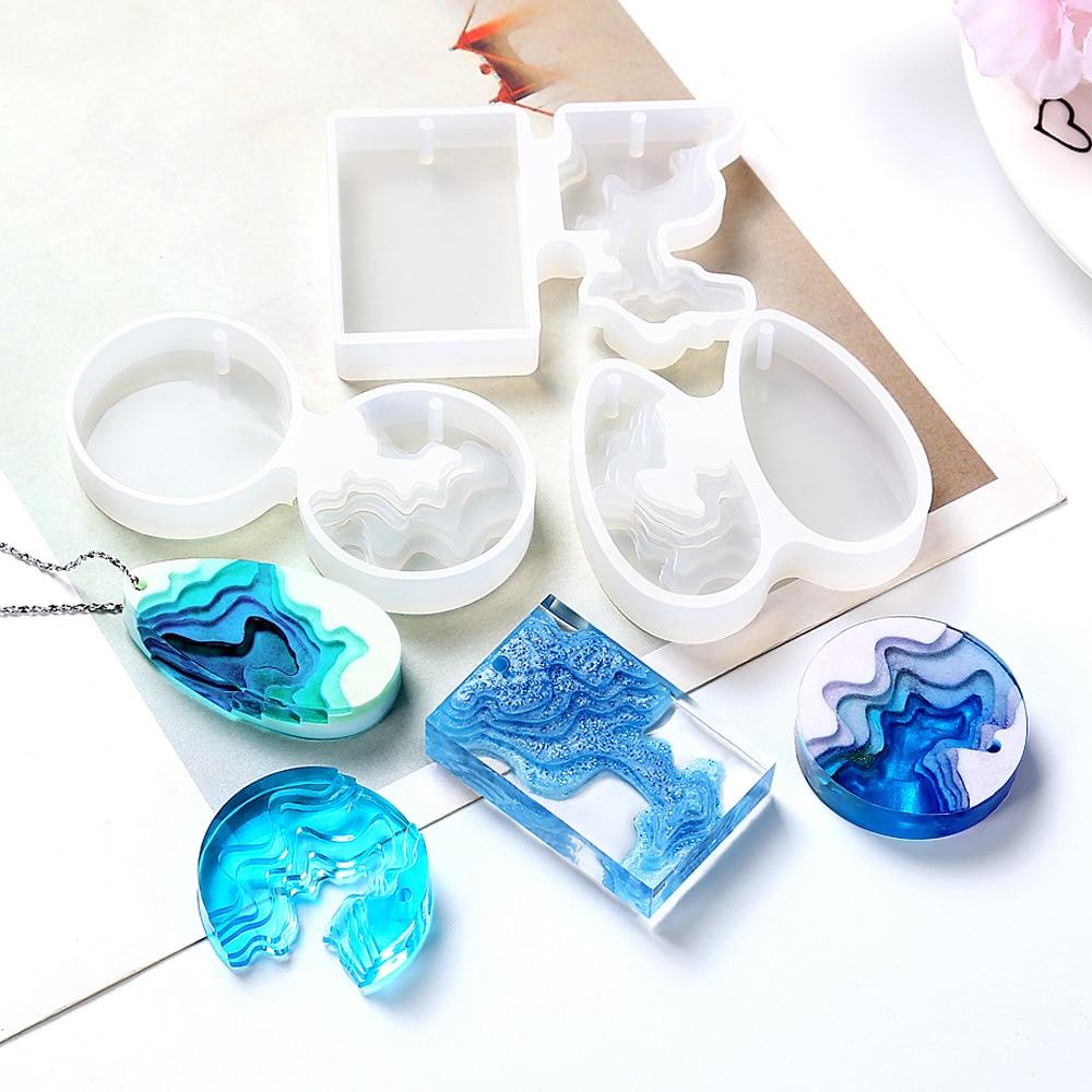 Round Water Drop Handmade DIY Crystal Epoxy Glue Creative Concrete Plaster Step Field Island Pendant Silicone Mold