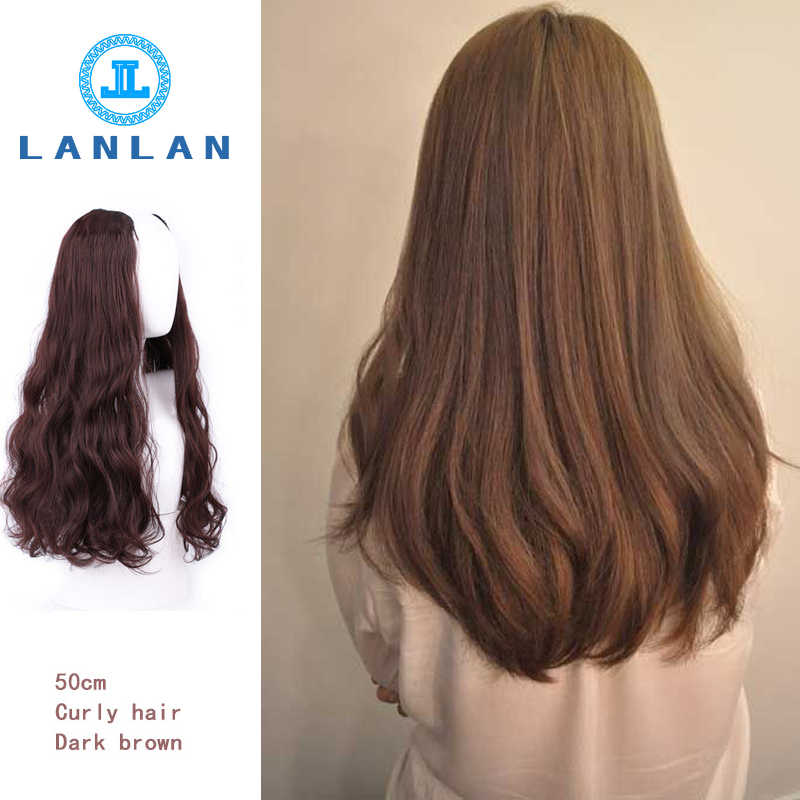 Kobiece długie kręcone włosy duża fala jednoczęściowe bezszwowe długie włosy proste włosy w kształcie litery U pół nakrycia głowy sieć czerwony ładny kawałek peruki