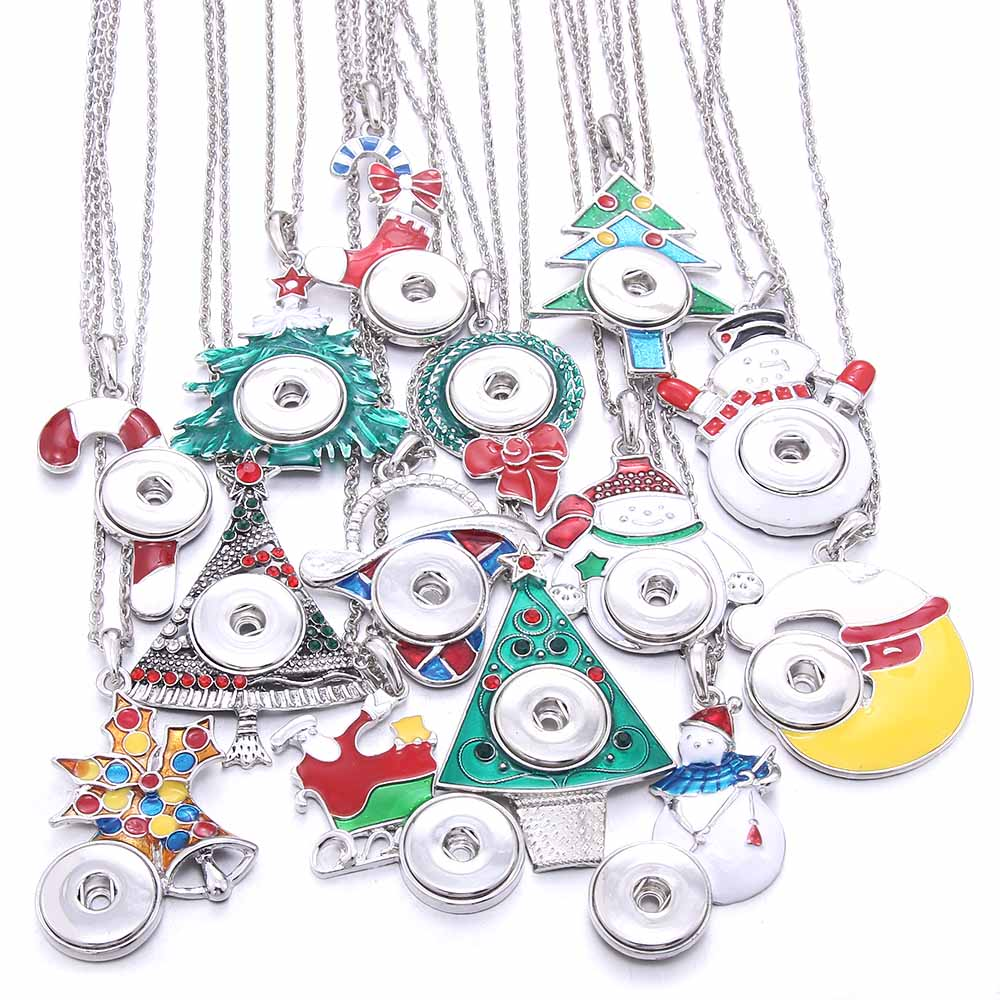 New Christmas Snap Necklace Jewelry DIY Snap Pendant Necklace Fit 18mm Snap Button Jewelry For Women Accessories