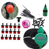15m DIY Micro Drip Irrigation Plant Self Automatic Watering Timer Garden Hose Kits With Adjustable Dripper Watering  Kits