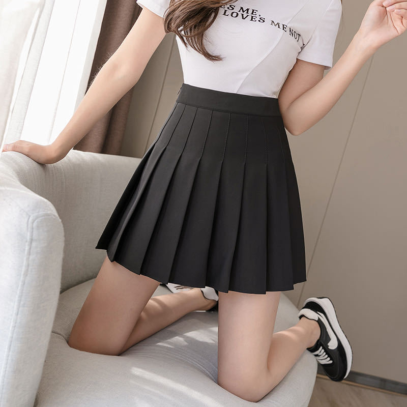 Mini School Skirts Women Spring Autumn High Waist Korean Style Skirt Thin A-line Pleated Short Skirts Women's Pleated Skirts