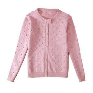 Image 1 - 2020 frühling kinder kleidung mädchen pullover casual feste langarm baby mädchen strickjacke pullover für mädchen große kinder