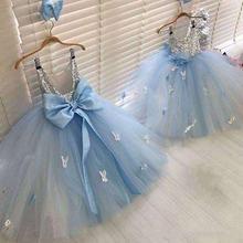 Высококачественное голубое Пышное фатиновое платье для девочек