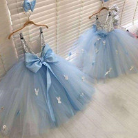 High Quality Blue Puffy Tulle Girls Pageant Gown Ankle Length O Neck Little Kids Birthday Party Dress High Quality Size2 16Y