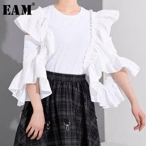 Женская блузка EAM, белая Свободная блузка с длинным рукавом и оборками, с отворотом, весенне-летняя мода 2020 1W0230