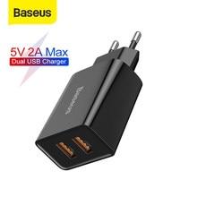 Baseus — Chargeur USB à double prise UE, 2,1 A max, charge rapide de téléphone portable, mini adaptateur mural