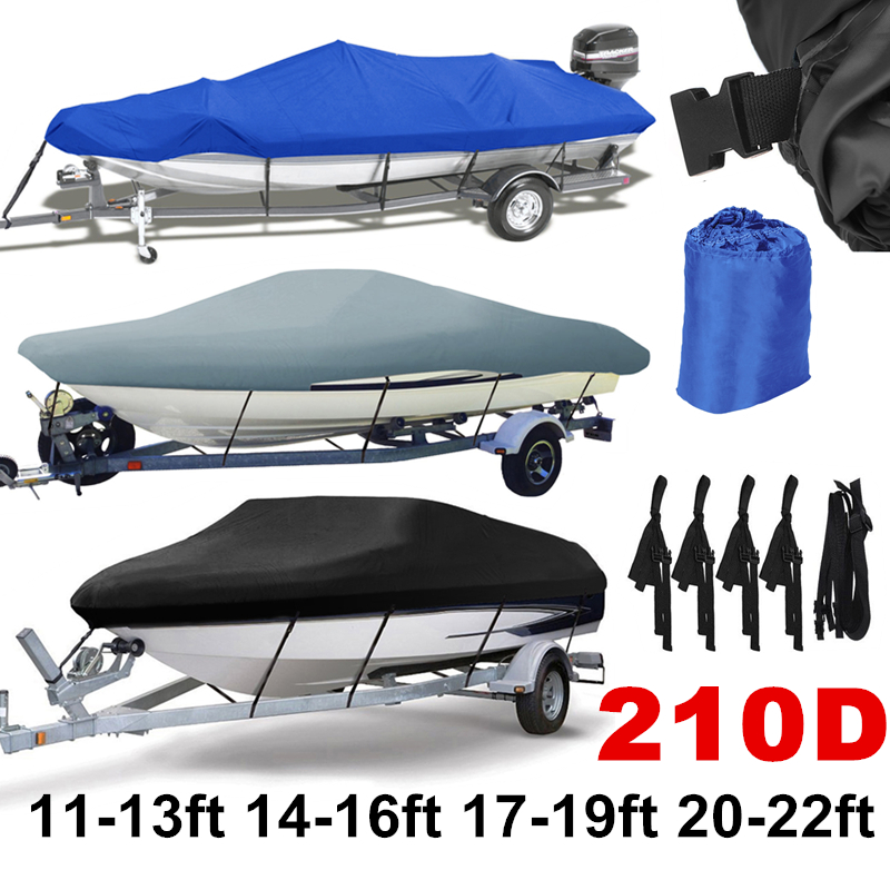 14-22ft Trailerable 210D Boat Cover Waterproof Grey Fish-Ski V-Hull Sunproof UV Protector Speedboat Boat Mooring Cover D45