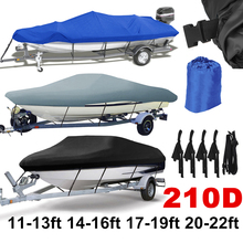 14-22ft Trailerable 210D Boat Cover Waterproof Grey Fish-Ski V-Hull Sunproof UV Protector Speedboat Mooring D45