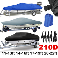 14 22ft Trailerable 210D Boat Cover Waterproof Grey Fish Ski V Hull Sunproof UV Protector Speedboat Boat Mooring Cover D45