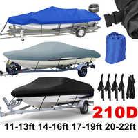 14-22ft trailable 210D cubierta de barco impermeable gris pez-esquí V-casco Protector UV Speedboat cubierta de amarre d45