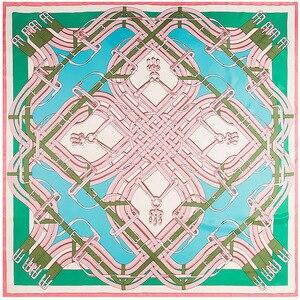 Image 5 - 130cm New Twill Silk Scarf Bandana Belt Button Printing Winter Scarf Luxury Brand Silk Scarves Women Shawls Wrap Wholesale