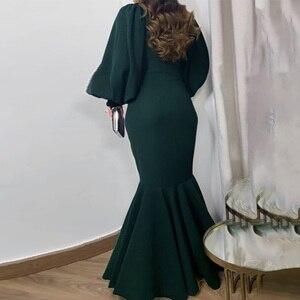 Длинное Элегантное Вечернее Платье с пышными рукавами, женское сексуальное длинное платье с оборками Русалка, женское вечернее платье в африканском стиле размера плюс 3XL, 2021, синее, красное