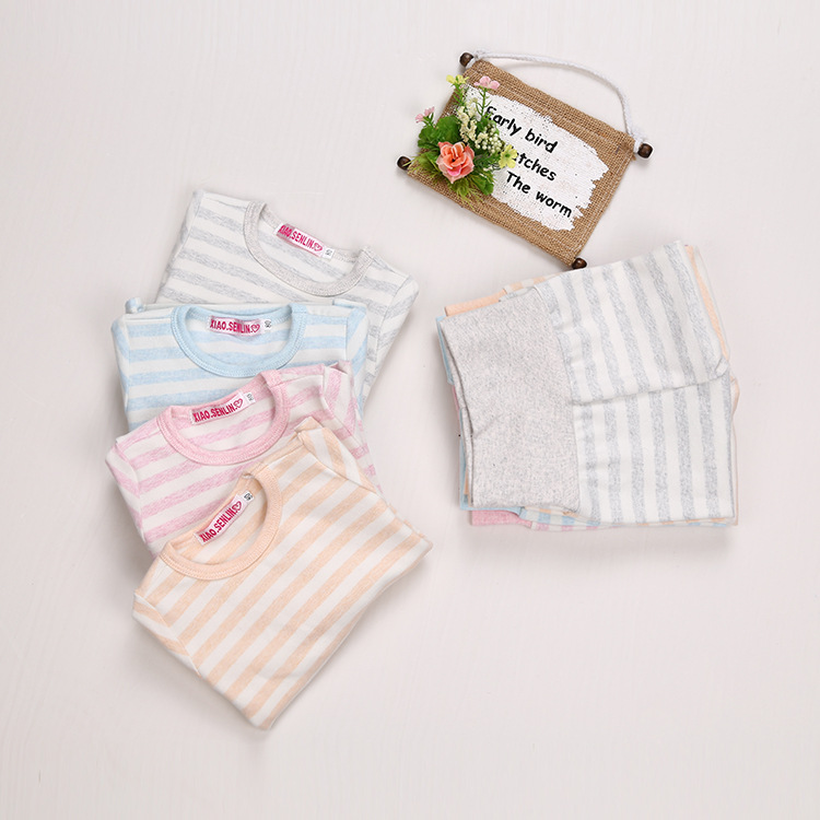 CHILDREN'S Pajamas Winter Thick Men And Women Baby Colored Cotton Household Pajamas Suit Children Tracksuit