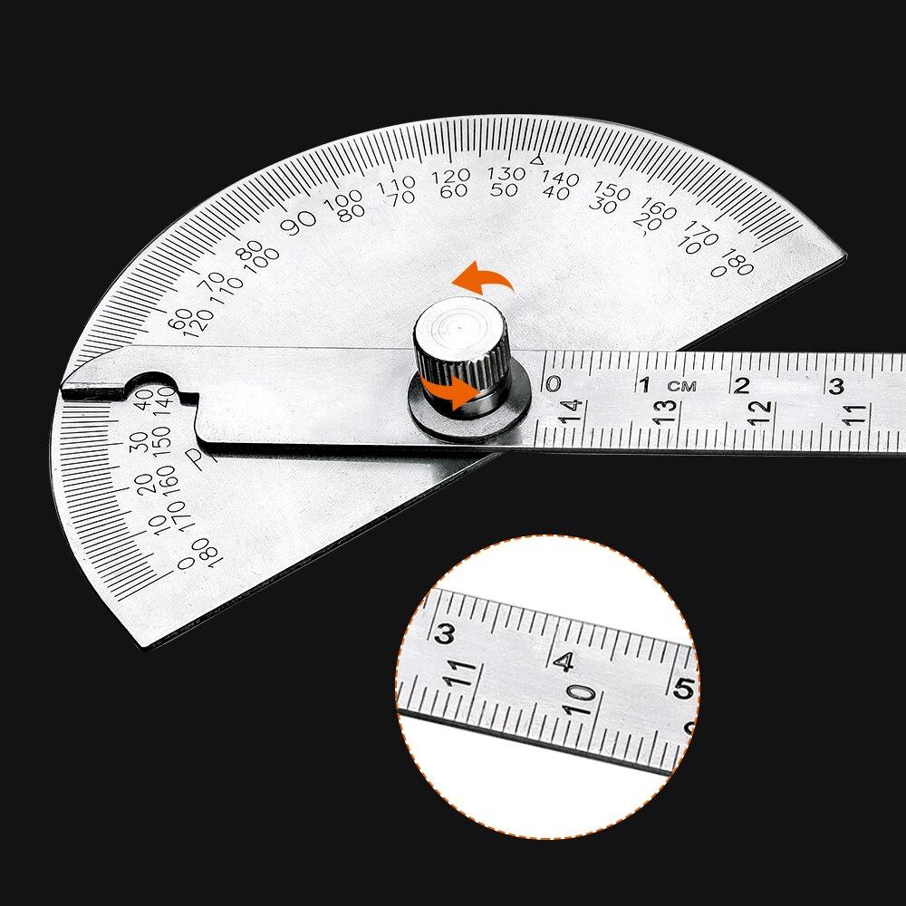 Règle de mesure de létrier à tête ronde de jauge dangle en acier inoxydable de rapporteur réglable de 180 degrés