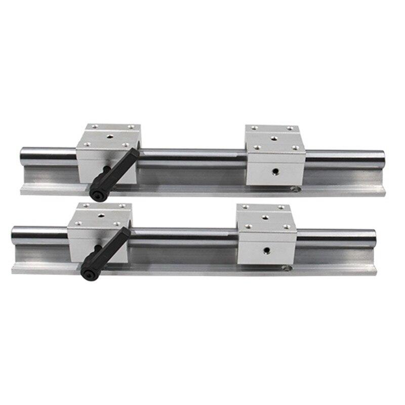 2 pièces SBR16 16mm rail linéaire n'importe quelle longueur support rond rail de guidage + 4 pièces SBR16UU bloc coulissant pour CNC - 3