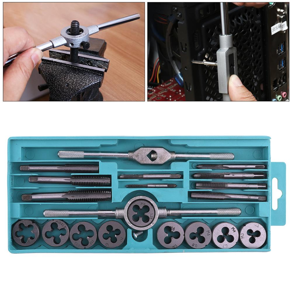20pcs/lot Alloy Steel Tap & Die Set With Small Tap Twisted Hand And 1/16-1/2 Inch NC Screw Thread Plugs Hand Screw Taps