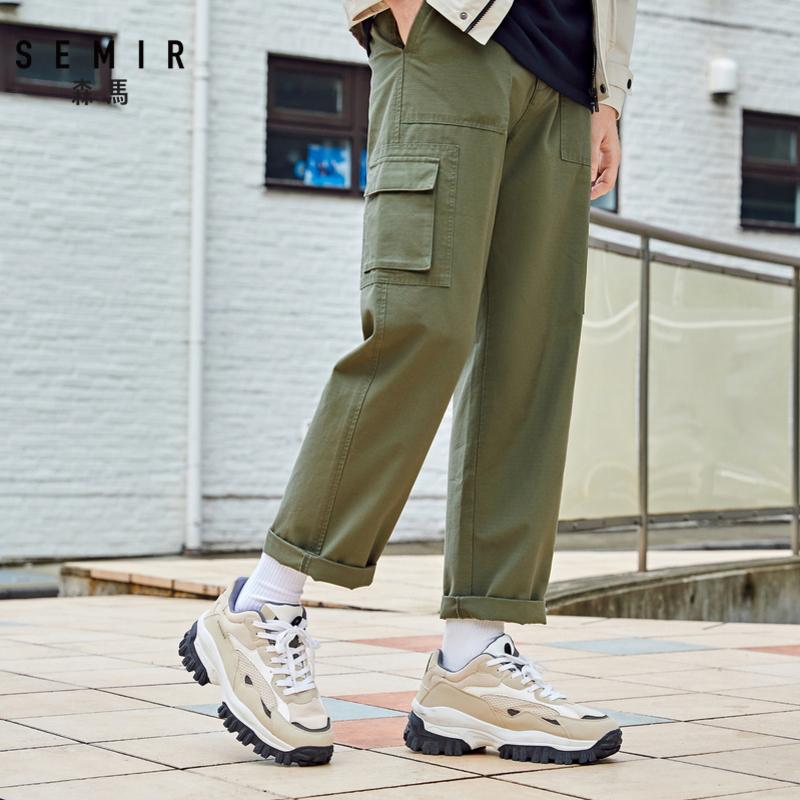 SEMIR 2020 spring new casual pants men trend straight ninth tooling style bottoms solid pants cotton