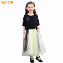 VFOCHI 2019 Girl Summer Dresses Patchwork Girls Party Clothes Elegant Lace Baby Kids for 3-12Y tutu