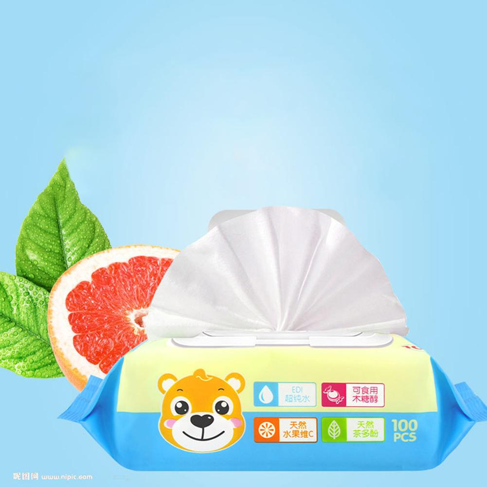 100 Pcs/bag Portable Disposable Wet Wipes Face Hand Cleaning Wipes Makeup Beauty Tool With Lid