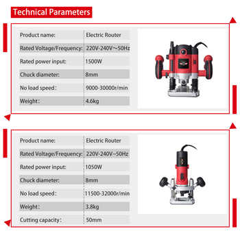 1050W/1500W/2100W Power Electric Router for Wood Milling Engraving Slotting Trimming Hand Carving Carpentry Electric Trimmer
