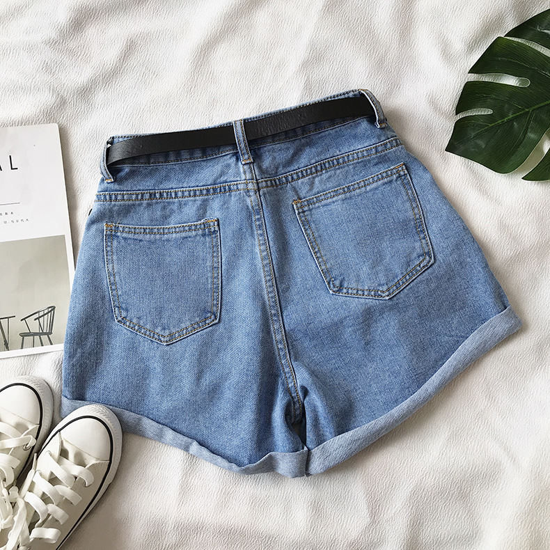 Hd88c7ff6e29a4ea2af3e745bbebd2d7bR - Women Summer Shorts Fashion Free Belt High Waist Loose Casual Slim Denim Shorts Women Shorts Jeans mujer femme Korea Shorts