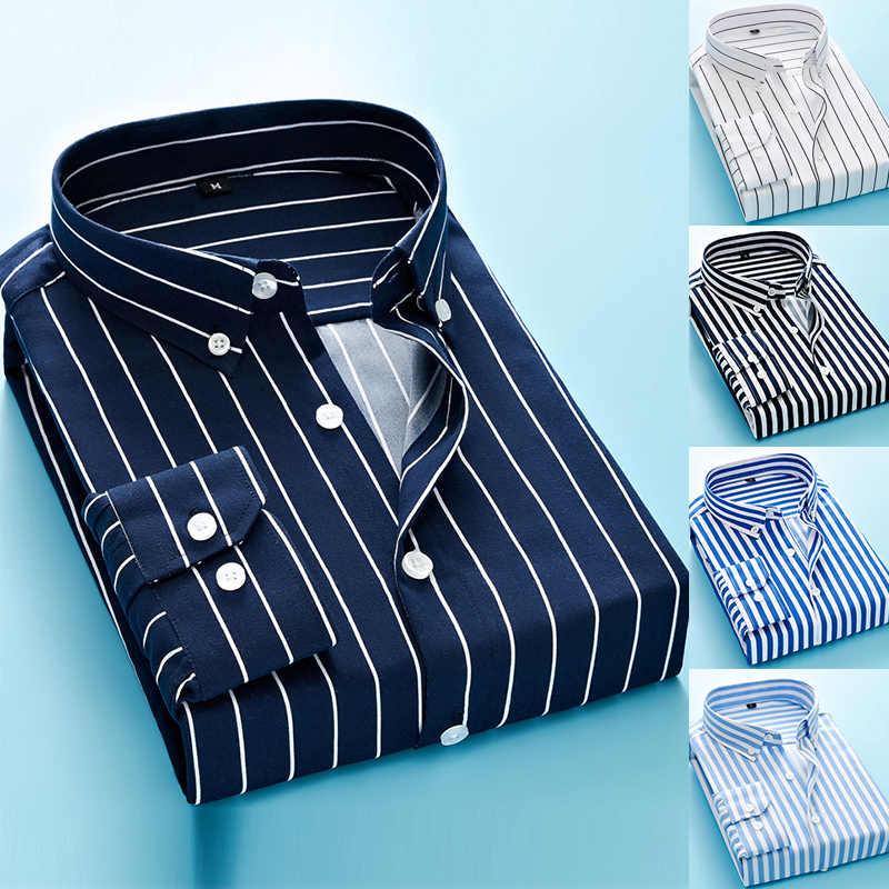 긴 소매 정장 남성 스트라이프 드레스 셔츠 사회 턴 다운 칼라 포켓 일반 맞는 비즈니스 남성 스마트 캐주얼 셔츠