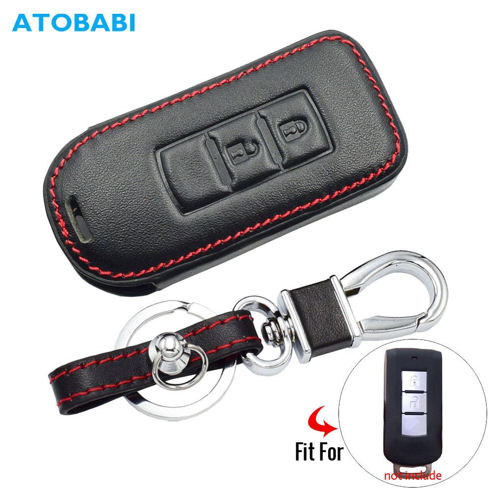 2BTN Leather Car Key Case For Mitsubishi Outlander Lancer 10 Pajero Sport L200 ASX RVR Remote Fob Protector Cover Keychain Bag