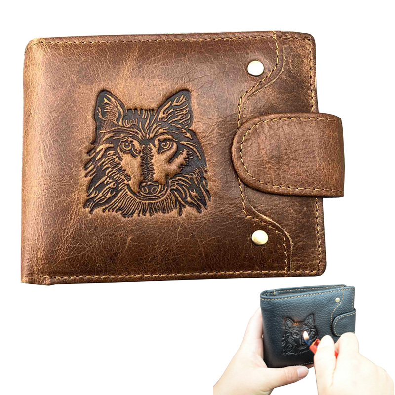 Men's Wallet Genuine Leather Luxury Wallet 2019 New Short Wallet Wolf Head Pattern Boys Wallet Portfel Meski Men Wolf Wallet