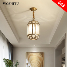 Nordic Pendant Lamp Gold Chandeliers for Balcony Corridor Copper Glass Shade Home Ceiling Decoration Lights Indoor Lighting