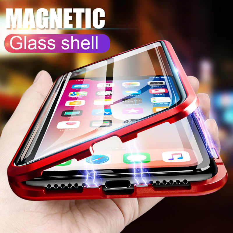 ZNP Magnetic Metal Full Cover Case For iPhone X XR XS Max Tempered Glass Protection Cases For iPhone 6 6s 7 8 10 Plus Phone Case