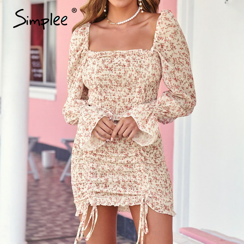 Simplee Sexy Square Neck Spring Dress Women Elastic Puff Sleeve Lace Up Female Short Dress Party Club Wear Ladies Mini Dress