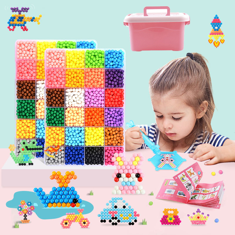 DIY Water Mist Magic Beads Set With Storage Box Children Educational Toys Girl Boy 3-5-7-8 Years Arts And Crafts For Kids