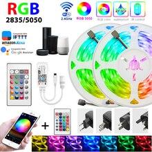 Ampoules LED lumières WIFI APP contrôle Led RGB 5050 SMD 2835 Diode de bande Flexible 5M DC 12V télécommande + adaptateur pour la lumière à la maison led