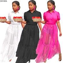 CM.YAYA kobiety Mesh zobacz choć długa sukienka patchworkowa Streetwear moda z krótkim rękawem bluzki Maxi sukienki Vestidos